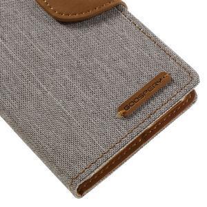 Canvas PU kožené/textilné puzdro pre mobil Sony Xperia XA - sivé - 4