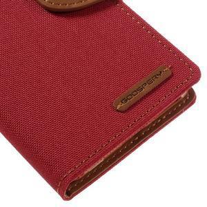 Canvas PU kožené/textilné puzdro pre mobil Sony Xperia XA - červené - 4