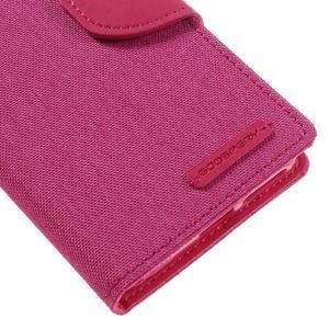 Canvas PU kožené/textilní pouzdro na mobil Sony Xperia XA - rose - 4