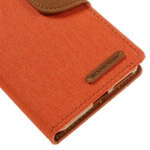 Canvas PU kožené/textilné puzdro pre mobil Sony Xperia XA - oranžové - 4