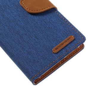Canvas PU kožené/textilné puzdro pre mobil Sony Xperia XA - modré - 4