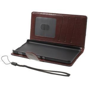 Jeansy PU kožené/textilné puzdro pre Sony Xperia XA - tmavomodré - 4