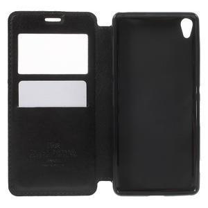 Royal PU kožené puzdro s okienkom na Sony Xperia XA - čierne - 4
