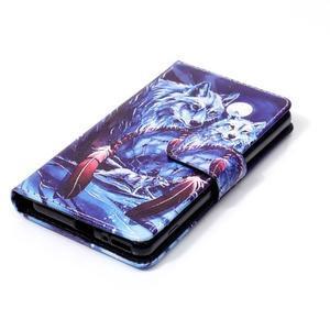 Emotive PU kožené knížkové puzdro pre Sony Xperia XA - mýtičtí vlci - 4