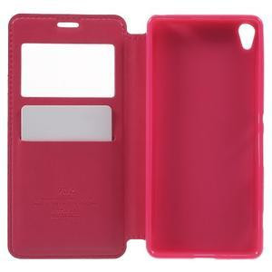 Royal PU kožené pouzdro s okýnkem na Sony Xperia XA - rose - 4