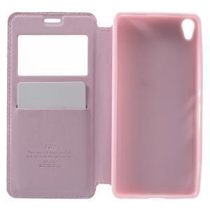 Royal PU kožené puzdro s okienkom na Sony Xperia XA - ružové - 4