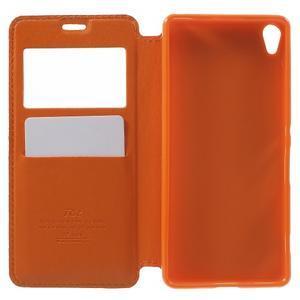 Royal PU kožené puzdro s okienkom na Sony Xperia XA - oranžové - 4