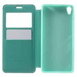 Royal PU kožené puzdro s okienkom na Sony Xperia XA - azurové - 4