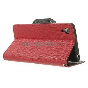 Štýlové Peňaženkové puzdro pre Sony Xperia Z2 - červené/čierne - 4