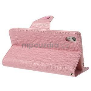 Štýlové Peňaženkové puzdro pre Sony Xperia Z2 - ružové - 4