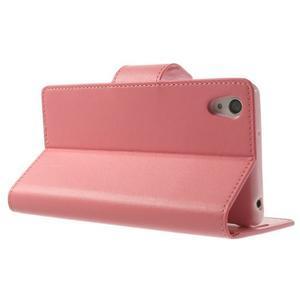 Sonata PU kožené puzdro pre mobil Sony Xperia Z2 - ružové - 4
