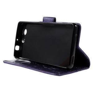 Butterfly PU kožené puzdro pre mobil Sony Xperia Z3 Compact - fialové - 4