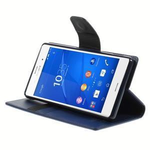 Sonata PU kožené pouzdro na mobil Sony Xperia Z3 - tmavěmodré - 4