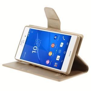 Sonata PU kožené puzdro pre mobil Sony Xperia Z3 - zlaté - 4