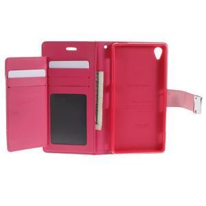 Luxury PU kožené puzdro pre mobil Sony Xperia Z3 - ružové - 4