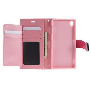 Luxury PU kožené pouzdro na mobil Sony Xperia Z3 - rose - 4