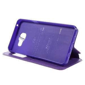 PU kožené puzdro s okienkom pre Samsung Galaxy A3 (2016) - fialové - 4