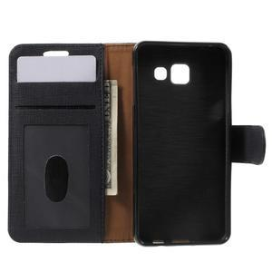 Cloth peňaženkové puzdro pre mobil Samsung Galaxy A3 (2016) - čierne - 4