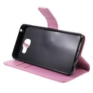 Liched koženkové puzdro pre Samsung Galaxy A3 (2016) - ružové - 4