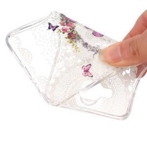 Slim průhledný gelový obal na Samsung Galax A3 (2016) - květinový motýl - 4