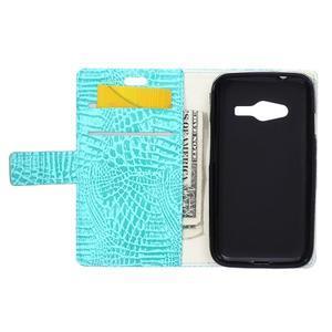 Croco peňaženkové puzdro pre Samsung Galaxy Trend 2 Lite - cyan - 4