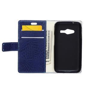 Croco peněženkové pouzdro na Samsung Galaxy Trend 2 Lite - tmavěmodré - 4