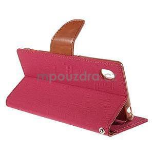 Canvas textilní/koženkové pouzdro na Sony Xperia M4 Aqua - červené - 4
