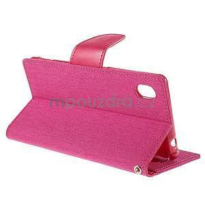 Canvas textilné/koženkové puzdro pre Sony Xperia M4 Aqua - rose - 4