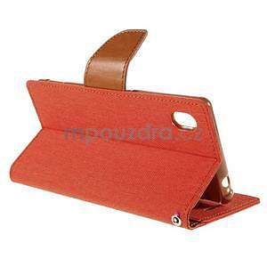 Canvas textilné/koženkové puzdro pre Sony Xperia M4 Aqua - oranžové - 4