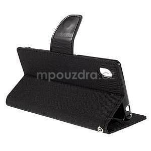 Canvas textilní/koženkové pouzdro na Sony Xperia M4 Aqua - černé - 4