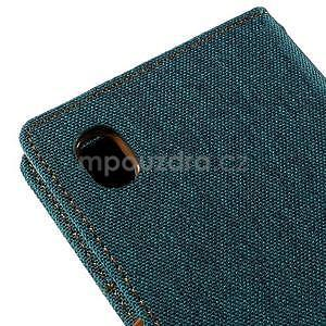 Canvas textilné / koženkové puzdro pre Sony Xperia M4 Aqua - zelenomodré - 4
