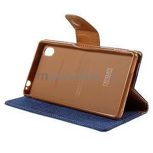 Canvas textilní/koženkové pouzdro na Sony Xperia M4 Aqua - modré - 4