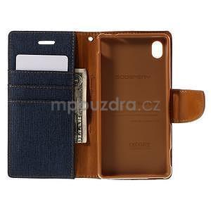 Canvas textilné/koženkové puzdro pre Sony Xperia M4 Aqua - tmavomodré - 4