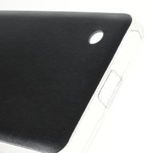 Gélový obal s jemnou koženkou na Microsoft Lumia 550 - čierný - 4