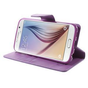 Diary PU kožené puzdro pre mobil Samsung Galaxy S6 -fialové - 4