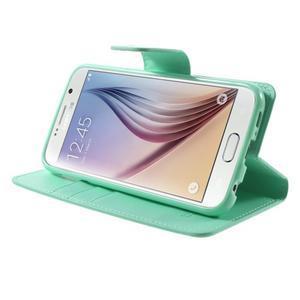 Diary PU kožené puzdro na mobil Samsung Galaxy S6 -cyan - 4