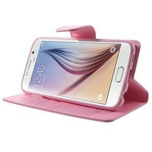 Diary PU kožené puzdro na mobil Samsung Galaxy S6 -růžové - 4