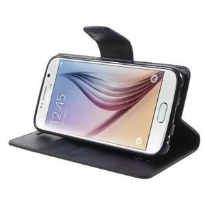 Diary PU kožené puzdro na mobil Samsung Galaxy S6 -čierné - 4
