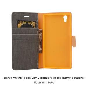Cloth textilní/koženkové puzdro na mobil Lenovo P70 - tmavo modré - 4