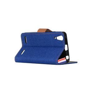 Jeans PU kožené/textilní puzdro na mobil Lenovo A6000 - tmavo modré - 4
