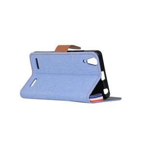 Jeans PU kožené/Textilné puzdro pre mobil Lenovo A6000 - svetlo modré - 4