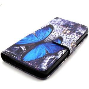 Peneženkové puzdro na mobil LG G4c - modrý motýl - 4