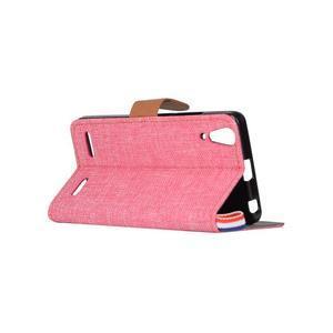 Jeans PU kožené/Textilné puzdro pre mobil Lenovo A6000 - ružové - 4