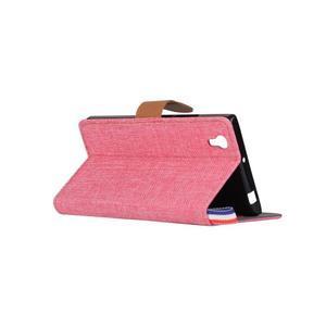 Jeans PU kožené/textilní puzdro na mobil Lenovo P70 - růžové - 4