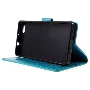 Butterfly PU kožené puzdro na Huawei Ascend P8 Lite - modré - 4