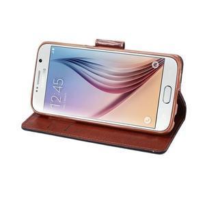 Business látkové/PU kožené puzdro na Samsung Galaxy S6 - tmavo modré - 4