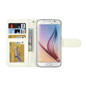 Croco motiv koženkového pouzdra pre Samsung Galaxy S6 - biele - 4