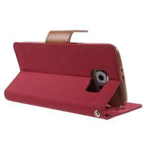 Luxury textilní/koženkové puzdro na Samsung Galaxy S6 - červené - 4