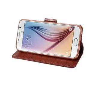 Business látkové/PU kožené puzdro na Samsung Galaxy S6 - červenohnedé - 4