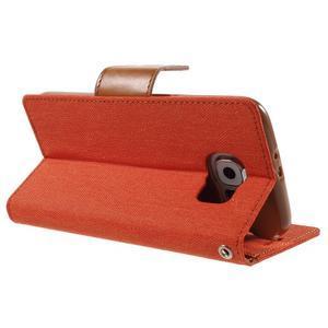 Luxury textilné/koženkové puzdro pre Samsung Galaxy S6 - oranžové - 4